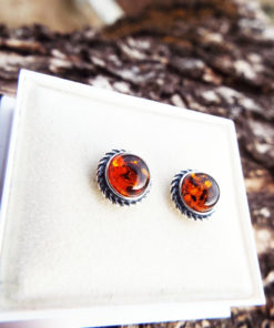 Amber Earrings Studs Gemstone Stone Handmade Silver Celtic Gothic Dark Sterling 925 Jewelry