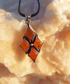 Amber Pendant Gemstone Necklace Handmade Gothic Antique Vintage Jewelry Protection