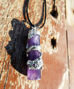 Amethyst Dragon Pendant Gemstone Pendulum Silver Necklace Cylinder Handmade Gothic Magic Dark Wicca Jewelry