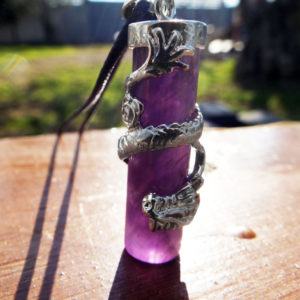 Amethyst Dragon Pendant Gemstone Pendulum Silver Necklace Cylinder Handmade Gothic Magic Dark Wicca Jewelry