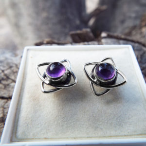 Amethyst Earrings Silver Studs Gemstone Flower Handmade Sterling 925 Purple Gothic Dark Jewelry