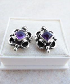 Amethyst Earrings Silver Studs Gemstone Handmade Sterling 925 Purple Gothic Dark Jewelry