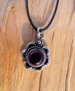 Amethyst Flower Pendant Gemstone Silver Handmade Gothic Jewelry Bohemian