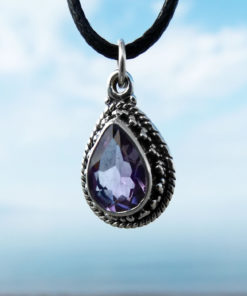 Amethyst Pendant Gemstone Silver Necklace Handmade Protection Sterling 925 Gothic Drop Tear Jewelry Bohemian