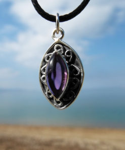 Amethyst Pendant Gemstone Silver Necklace Handmade Protection Sterling 925 Gothic Jewelry Bohemian