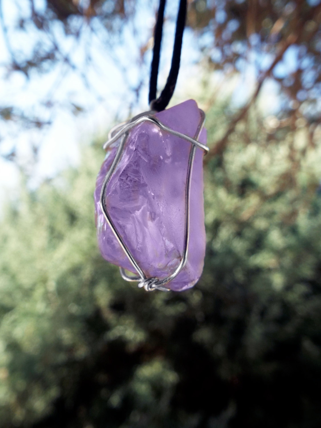 Amethyst Pendant Raw Gemstone Silver Necklace Handmade Stone Purple Sterling 925 Protection Jewelry