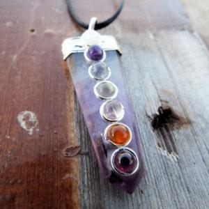 Amethyst Pendulum Chakra Pendant Silver Necklace Handmade Gemstone Pointer Gothic Magic Dark Wicca Jewelry