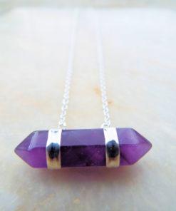 Amethyst Pendulum Pendant Silver Handmade Necklace Gemstone Stone Gothic Magic Dark Wicca Pointer Jewelry