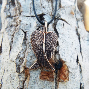 Angel Wings Pendant Handmade Necklace Feather Gothic Dark Bronze Jewelry