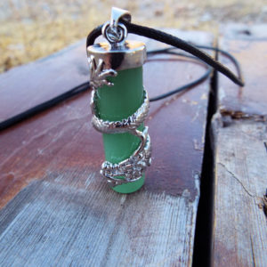Aventurine Dragon Pendant Gemstone Pendulum Silver Necklace Cylinder Handmade Gothic Magic Dark Wicca Jewelry