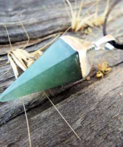 Aventurine Pendant Pendulum Silver Pointer Crystal Gemstone Necklace Handmade Gothic Dark Jewelry Boho
