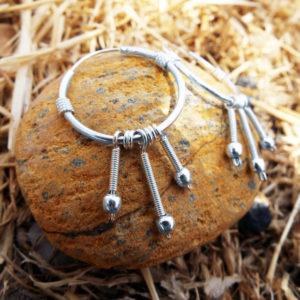 Bali Hoop Earrings Silver Balinese Sterling Dangle Drop 925 Tribal Handmade Jewelry Patterned Traditional