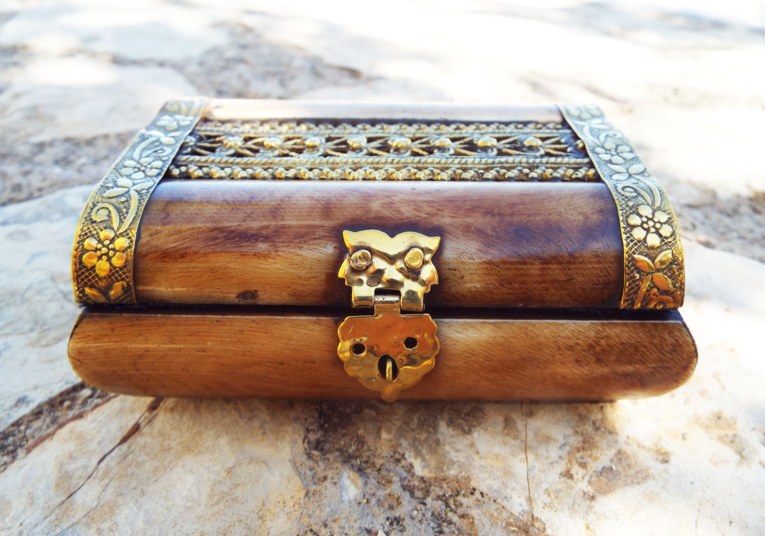 Bone box handmade trinket chest carved jewelry antique