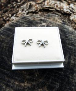 Bow Earrings Studs Silver Handmade Ribbons Cute Feminine Girls Jewelry