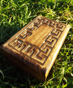 Box Meander Symbol Ancient Greek Wooden Carved Handmade Trinket Jewelry Greek Labyrinth Key Pattern Mango Tree Wood Eco Friendly