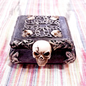 Box Skull Gothic Ceramic Handmade Dark Trinket Jewelry Painted Celtic Magic