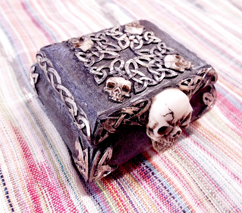 Box Skull Gothic Ceramic Handmade Dark Trinket Jewelry Painted Celtic Magic