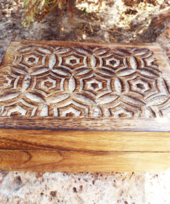Box Trinket Wooden Handmade Carved Flower Patterned Mango Tree Wood Chest Jewelry Balinese Indian