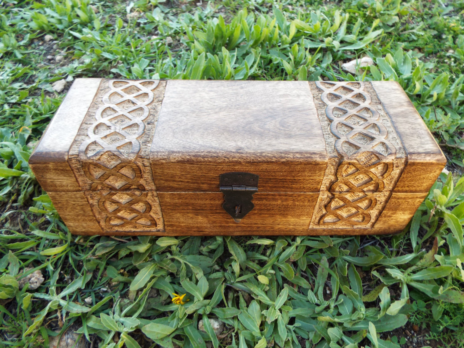 Box wooden celtic knot mango tree jewelry handmade symbol Eco friendly home decor