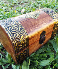Box Wooden Flower Jewelry Carved Handmade Antique Vintage Home Decor Indian Floral Mango Tree Wood Trinket Leaf Treasure Chest Eco Friendly
