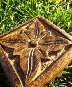 Box Wooden Flower Jewelry Carved Handmade Home Decor Indian Floral Mango Tree Wood Trinket Treasure Chest Eco Friendly