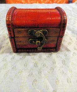 Box Wooden Handmade Wooden Leather Vintage Treasure Chest Jewelry Trinket
