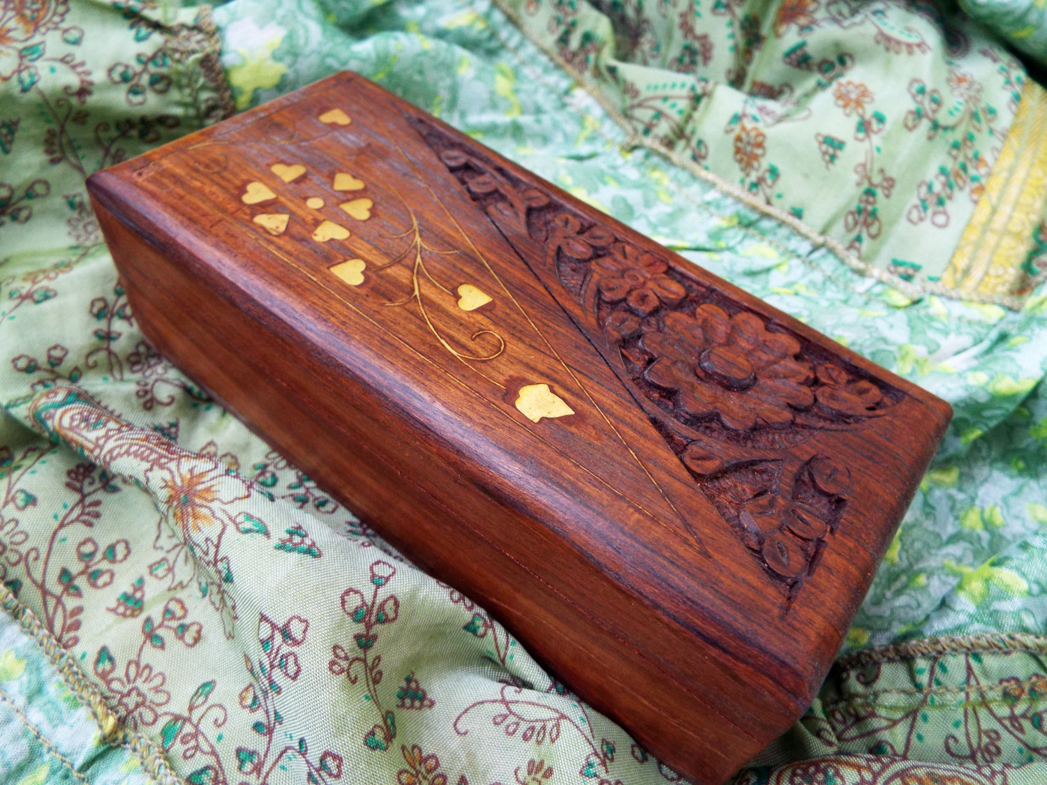 Box wooden jewelry carved handmade balinese home decor
