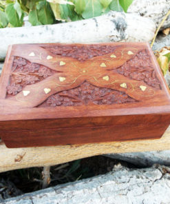 Box Wooden Jewelry Carved Handmade Balinese Home Decor Indian Floral Trinket Velvet Treasure Chest