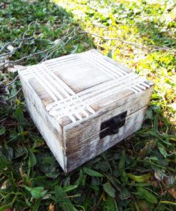 Box Wooden Jewelry Geometric Carved Handmade Antique Vintage Home Decor Mango Tree Wood Trinket Treasure Chest Eco Friendly