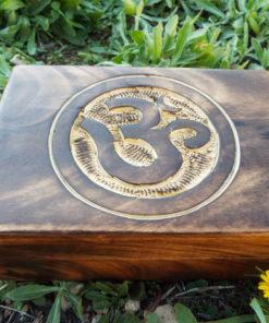 Box Wooden Om Symbol Indian Yoga Meditation Protection Handmade Mango Tree Wood Trinket Chest