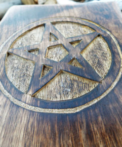Box Wooden Pentagram Jewelry Hand Carved Handmade Floral Home Decor Trinket Gothic Wiccan Magic Pagan Treasure Chest