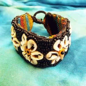 Bracelet Beaded Floral Flower Handmade Seashell Shell Spiral Cotton Hippie Boho Jewelry Beach