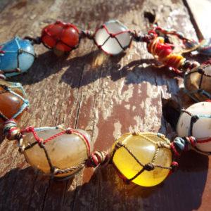 Bracelet Chakra Gemstone Handmade Precious Stones Spiritual Protection Jewelry Cuff