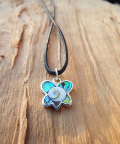 Butterfly Pendant Silver Handmade Shiva Seashell Necklace Sterling 925 Animal Wings Abalone Jewelry