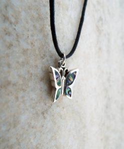 Butterfly Pendant Silver Sterling Abalone Handmade Seashell Shell 925 Necklace Wings Beach Sea Ocean