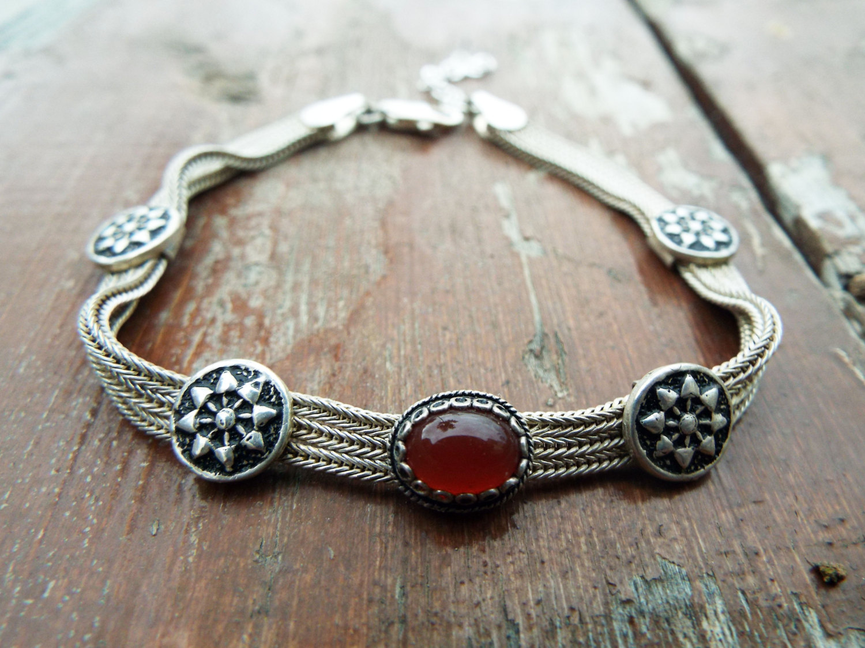 Carnelian Bracelet Silver Cuff Dangle Chain Sterling 925 ...