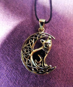 Cat Moon Pendant Pentagram Bronze Handmade Witch Halloween Necklace Celtic Jewelry Pagan Protection Symbol