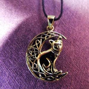 Cat Moon Pendant Pentagram Bronze Handmade Witch Halloween Necklace Celtic Jewelry Pagan Protection Symbol