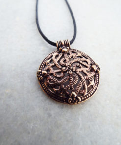 Celtic Pendant Viking Necklace Handmade Battle Shield Ancient Symbol Gothic Dark Jewelry