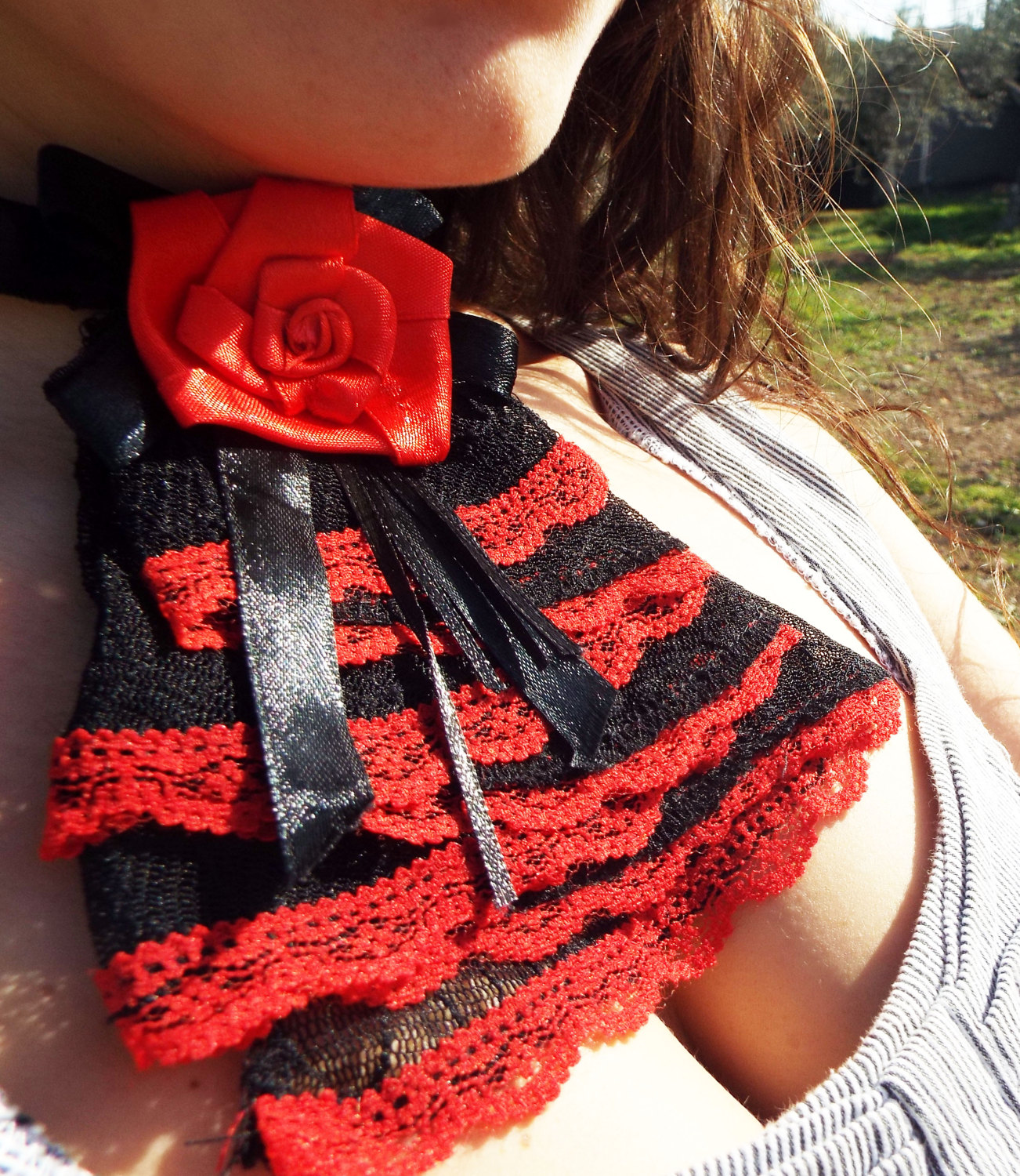 Choker Necklace Collar Gothic Rose Black Red Lace Handmade Jewelry