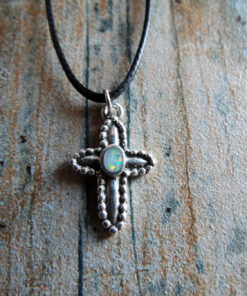 Cross Pendant Silver Opal Sterling 925 Handmade Gemstone Necklace Christian Religious Jewelry Crucifix Symbol 1