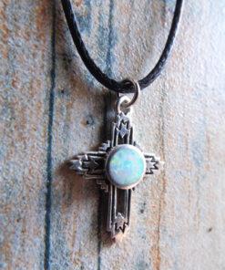 Cross Pendant Silver Opal Sterling 925 Handmade Gemstone Necklace Christian Religious Jewelry Crucifix Symbol 2
