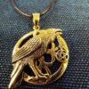 Crow Pendant Pentagram Bronze Handmade Necklace Gothic Dark Magic Protection Jewelry