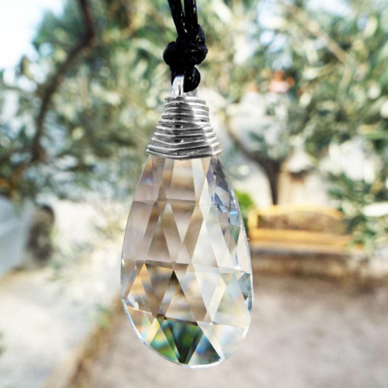 Crystal Pendant Silver Necklace Handmade Stone Gemstone Sterling 925 Tear Teardrop Drop Crystal Jewelry