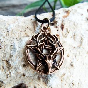 Deer Pentagram Pendant Antelope Bronze Handmade Necklace Dark Gothic Pagan Wiccan Protection Jewelry Symbol
