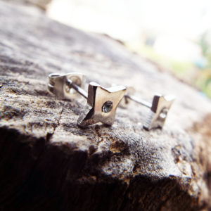Diamond Earrings Studs Cross Silver Cubic Zirconia Handmade Gothic Dark Stainless Steel Jewelry