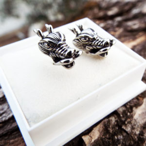 Dragon Earrings Studs Silver Handmade Gothic Dark Serpent Symbol Stainless Steel Jewelry