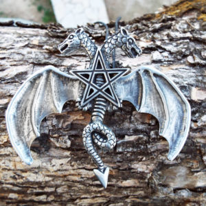 Dragon Pendant Pentagram Necklace Two-Headed Dragon Wings Star Handmade Magic Gothic Wicca Protection Jewelry