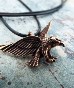 Eagle Pendant Handmade Necklace Bird Hawk Bronze Animal Symbol Flying Freedom Jewelry