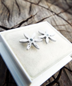 Earrings Flower Studs Silver Handmade Floral Zircon Spring Vintage Antique Stainless Steel Jewelry